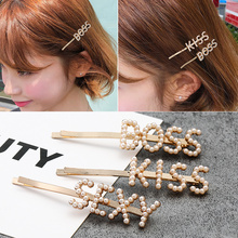 1PC Word Hair Clip Jewelry Pearl Pins for Women Girls Bangs Clips Barrette Accessories Fashion