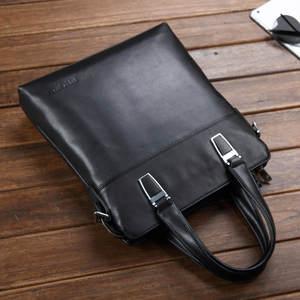 Мужская сумка через плечо, из натуральной воловьей кожи, Черная
