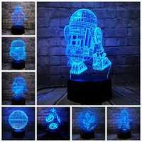2019 nouveau 3D lampe mort étoile guerre R2D2 BB-8 dark vador chevalier LED bébé lave Table nuit lumière dessin animé jouet Luminaria enfants cadeau