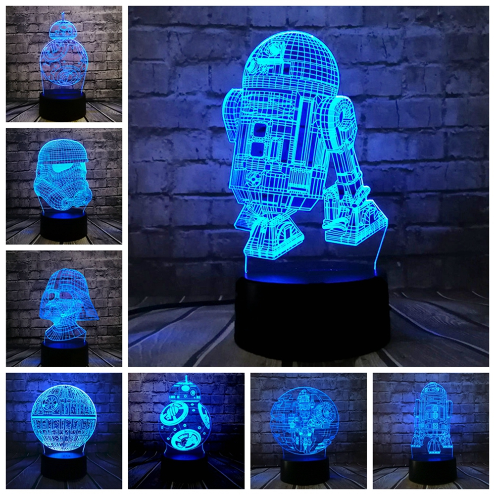 Star Wars Lamp Death Star Theme 3D Lamp R2D2 BB-8 Darth Vader  Knight LED Baby Table NIGHT LIGHT Cartoon Toy Luminaria Kid Gift