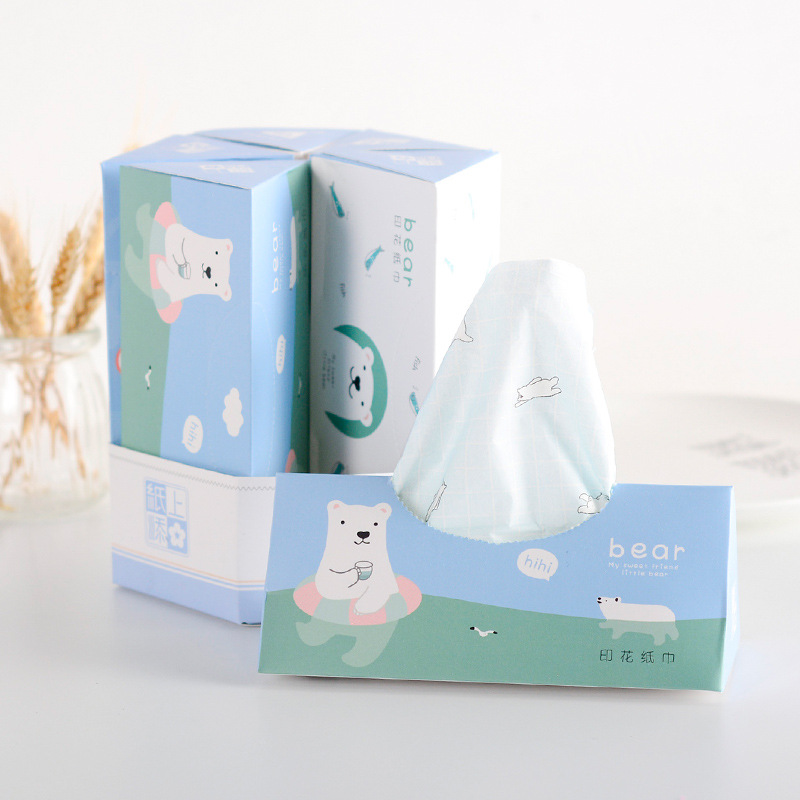 New Creative New Style Triangular Printed Paper Towel 3-Tier Virgin Wood Pulp Thick Unscented Cartoon Paper Extraction Manufactu