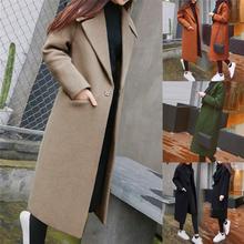 Women Work Solid Vintage Winter Office Long Sleeve Button Woolen Jacket Coat пальто женское winter coat women cheap Polyester Women s Coat REGULAR Wool Blends Turn-down Collar Pockets Single Button Casual Full