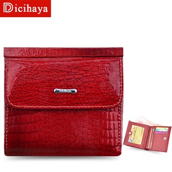 DICIHAYA Mini Wallet Women Genuine Leather Wallets With Coin Bag Alligator Hasp Short Wallet Female Small Wallets And Purses piroyce genuine leather men wallets with coin bag hasp mens wallet male money purses wallets multifunction men wallet