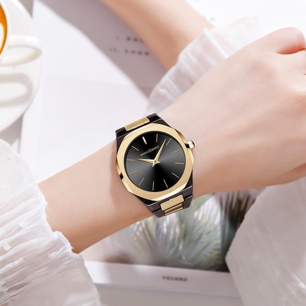 Ayhaus 40mm Dial Square Luxury Wristwatch Black Quartz Watch for Ladies Women Mesh Female Silver Stainless Steel Band