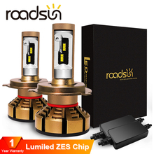 Roadsun H7 H4 Led سيارة المصابيح الأمامية مع ZES رقائق H1 LED H11 H8 H9 HB3 9005 HB4 9006 12V 6000K 12000LM مصباح السيارات لمبة أضواء