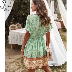 Image 2 - ג סי וינסון Boho הדפסת קצר חוף שמלת נשים קיץ קצר שרוול צווארון V מיני שמלה בוהמי פום פום כדור ZA שמלות 2020