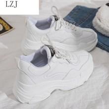 Rozmiar 35 40 2019 nowe damskie trampki na co dzień zasznurowane buty na platformie kobieta na grube podeszwy buty wulkanizowane wygodne obuwie