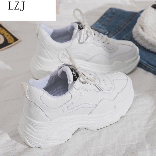 Size 35 40 2019 New Casual Womens Sneakers Lace Up Platform Shoes Woman For Thick Soled Vulcanize Shoes Comfortable Footwear