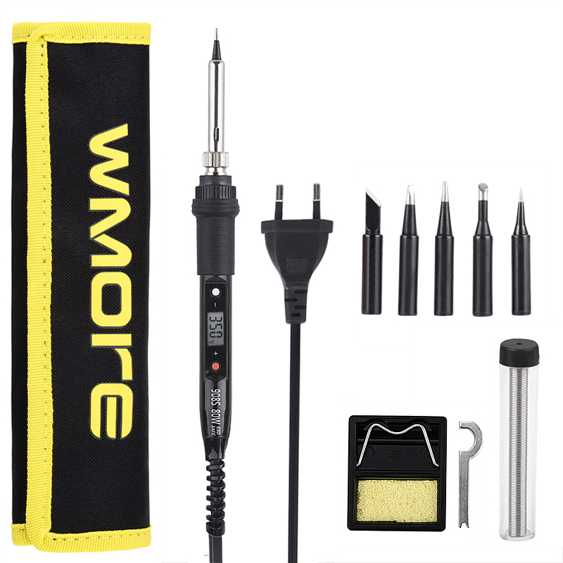 WMORE Electric Soldering Iron Kit LCD Temperature Adjustable 80W 110V 220V Welding Solder Repair Tool Kits Soldering Iron Tips