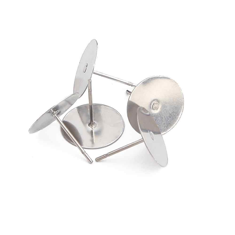 100pcs 3 4 5 6 8 mm נירוסטה ריק עגיל הרבעה בסיס קרושון Fit קמיע הגדרות DIY תכשיטים ביצוע אבזרים