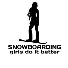 15.2CM*15.2CM Snowboarding Girls Do It better Chick Snowboarder Girl Car Snow Car Sticker Decoration Black White for Lexus is200 18 19 snowboarding bindings terror snow crew black 2222650