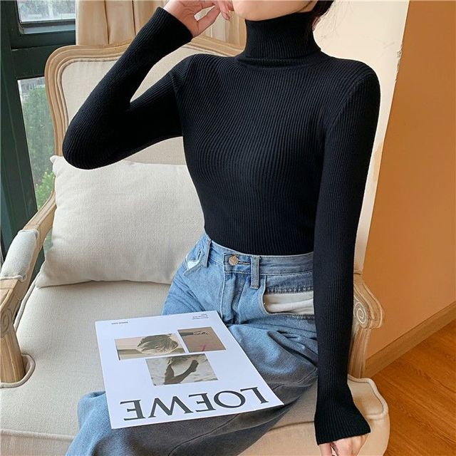Women's Sweaters Autumn Winter Turtleneck Long Sleeve Casual Knitted Jumper Fashion Slim Elasticity Pullover Sweater Female 2021 3
