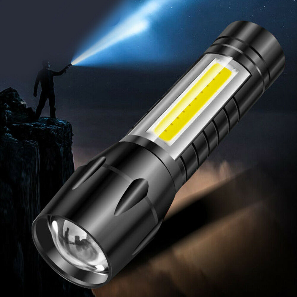 Outdoor LED Torch USB Rechargeable Flashlight Police Zoom Camping Lamp Light F