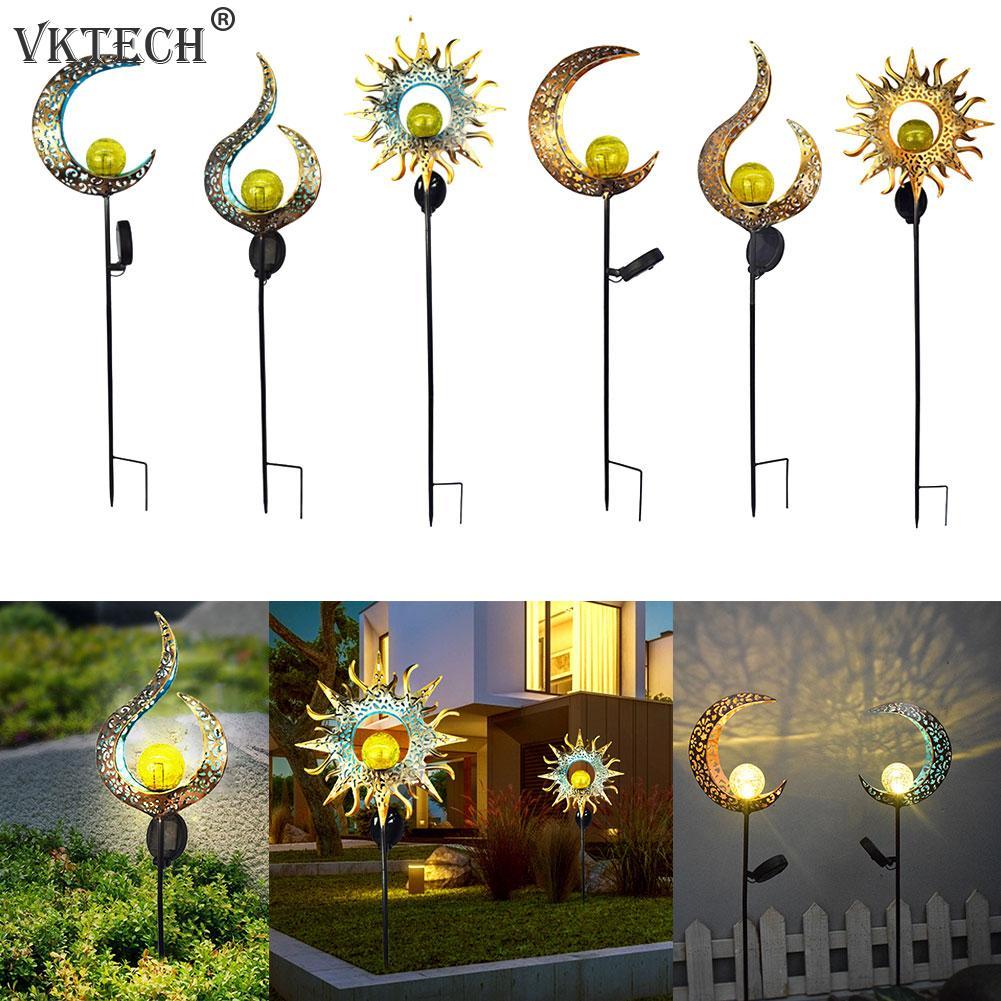 Solar LED Sonne Mond Flamme Licht Wasserdicht Retro Eisen Landschaft Rasen Lampen Im Freien Solar Licht Garten Dekoration