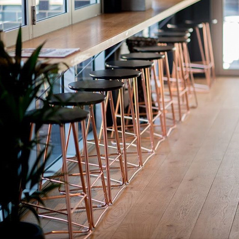 Nordic Restaurant Bar Iron Wood Bar Chair Minimalist Cafe Tea Shop High Chair Bar Chair