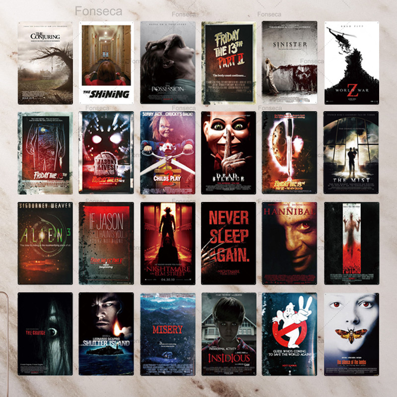 Horror Movie Metal Poster Plaque Metal Vintage Thriller Movie Metal Tin Sign Wall Decor for Bar Pub Club Man Cave image