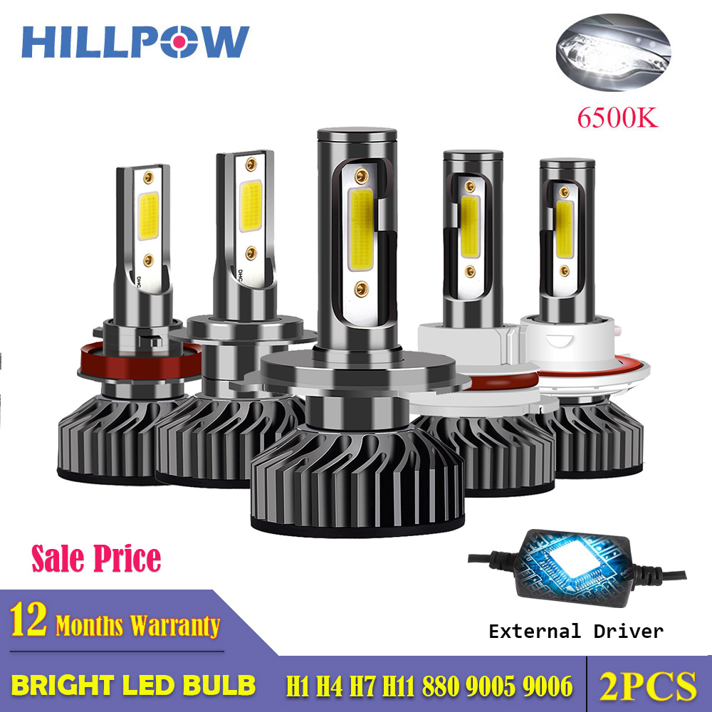 Hillpow Car Headlight H4 LED H7 Bulbs H1 H3 H8 H11 H27 HB3 9006 72W 8000LM 6500K 12V 24V Auto Headlamp COB Fog Light Bulb Sale