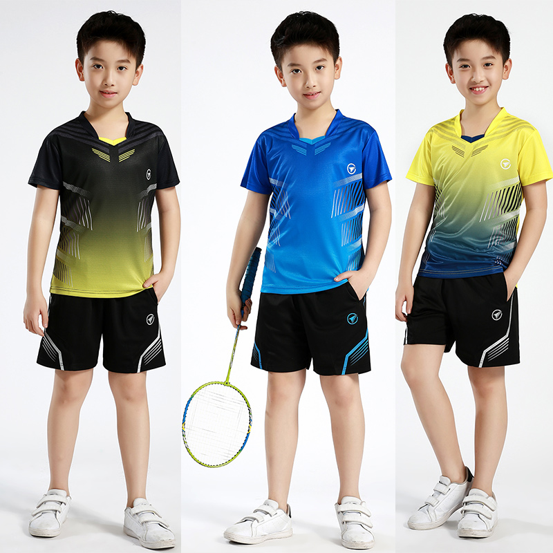 New Children short sleeve Badminton clothes Girl sports sets Table Tennis wear , boys tennis clothes Running sets B122