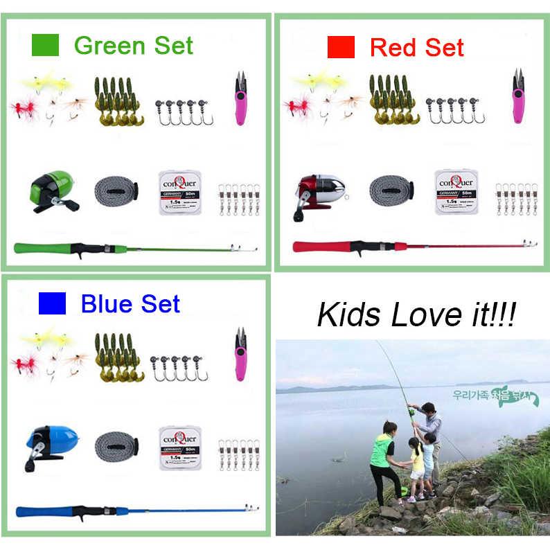 ローズウッド子供旅行釣りセット 1.2 メートル青緑赤釣竿とリールスピンキャストリールアクセサリーキット釣りギフトのため子供