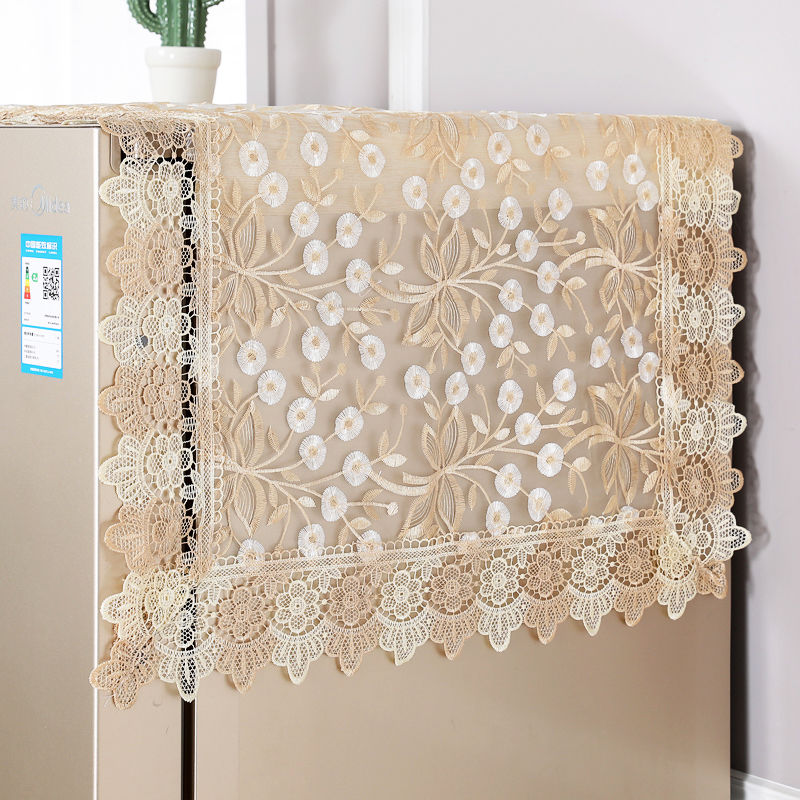 Fyjafon Refrigerator Dust Cover Embroidery Washing Machine Top Cover Decorative Kitchen Dust Proof Covers 60*140//70*170