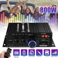 800 Вт HiFi Мощность усилитель аудио караоке домой Театр Усилитель 2 канальный Bluetooth класса D усилитель басов, музыкальный плеер FM радио