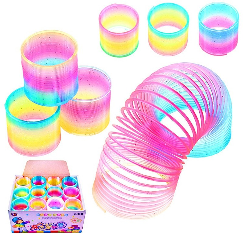 Spring Rainbow Children's Creativity Magical Toy Circle Funny Gifts Toys Coil Early Development Educational Folding Plastic 5cm