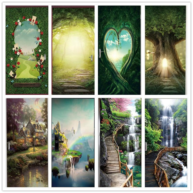 Green Forest Tree 3D Wallpaper Door Sticker Self-adhesive Vinyl Decal Waterfall Creek Landscape Mural Home Decor Poster De Porte