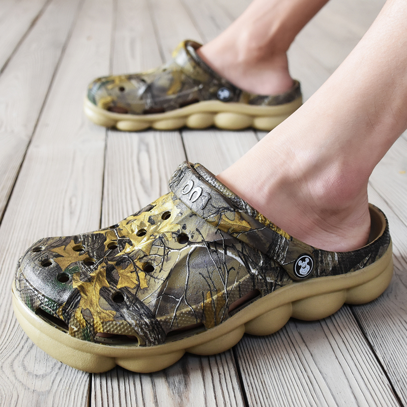 Men Summer Jelly Sandals Lightweight Massage Camouflage Flip Flops Beach Croc Shoes Gladiator Garden Clogs Rubber Bottom