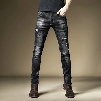 Free Shipping New 2020 men's male fashion Black jeans spring Korean trend embroidery print patch hole denim slim pants trousers