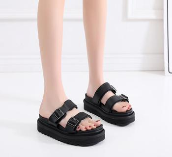 Women Sandals Myles Platform Slide Doc Leather Summer Shoes Martins Ladies Buckle Strap High Quality Casual Women Sandals 2020