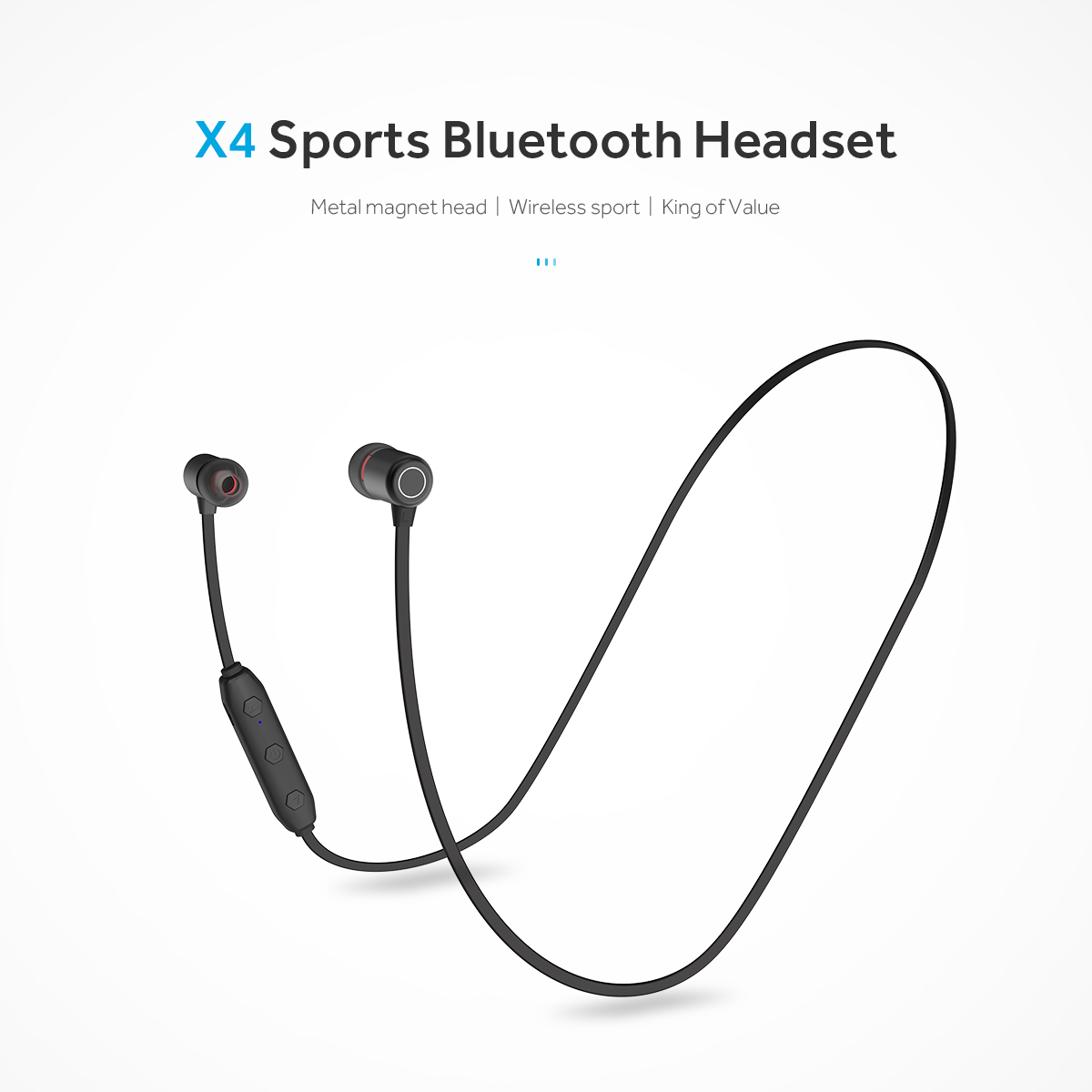 Lightweight Bluetooth Flat Wire Neckband Earphone Anti-fall Magnetic Head BT5.0 Running Headset Wireless HD Stereo Music Earbuds image
