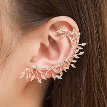 Punk Jewelry Women Gift Gold Silver Plated Crystal Ear Cuff Curved Full Rhinestone Vintage Leaf Zinc Alloy Clip Earrings(China)