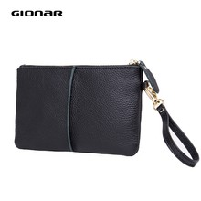 GIONAR Cowhide Top Layer Genuine Leather Wristlet Womens Portable Phone Wallets and Purses 2019 High Quality Designer Clutch(China)