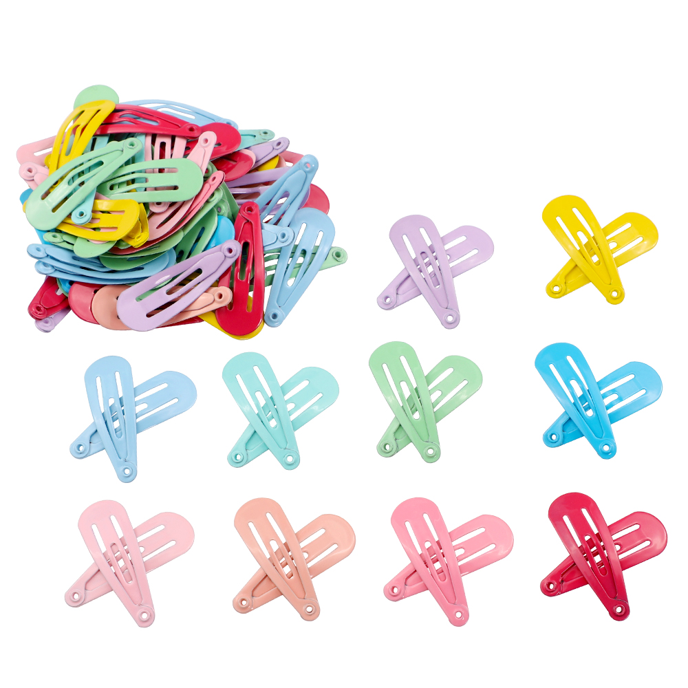 50pcs Snap Hair Clip For Children Baby Kid Hair Pin Hair Accessories Girls Women Hairpin Barrette Solid Color Metal Hairgrip 3cm