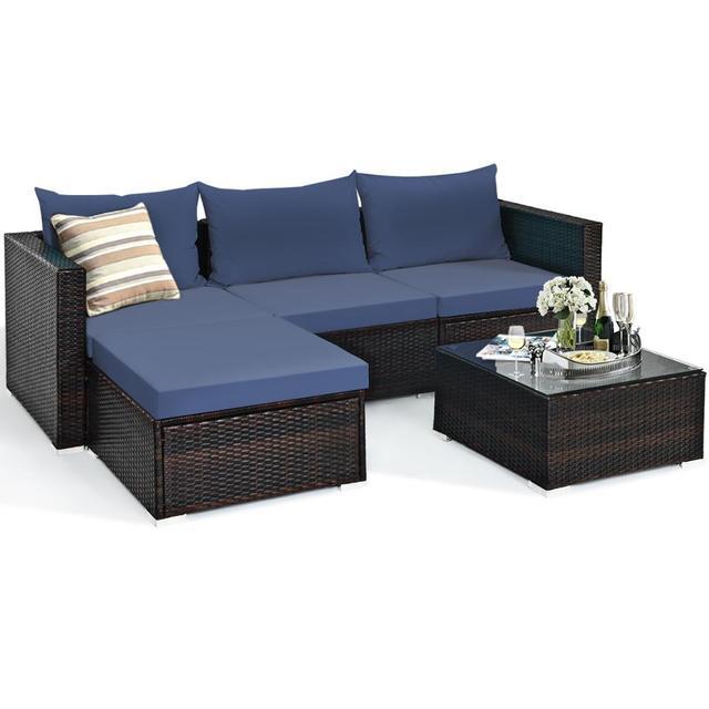 5PCS Patio Rattan Furniture Set Sectional Conversation Sofa w/ Coffee Table HW66521 1
