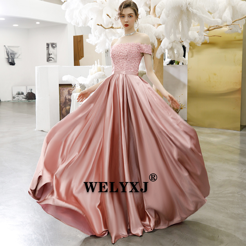 Pink Luxury Ball Gown Tulle Lace Appliques Flowers Pearls New Evening Dress Party Gowns 2019 Dress Evening Gown