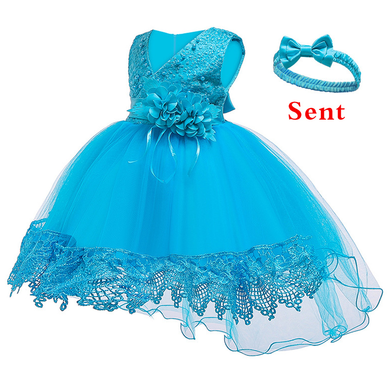 Girl Baby's Wedding Bridesmaid Party Dress Girl Baby's First Birthday Party Beaded Dresses Vestidos De Fiesta