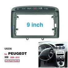 2 din 9 Polegada instalação de rádio do carro dvd gps mp5 plástico painel fascia quadro para peugeot 308 2008 2013 traço montagem kit