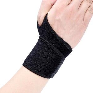 Muñequera negra ajustable con agujero para pulgar, muñequera para levantamiento de peso, muñequera para baloncesto, soporte de mano, protección de uso diario