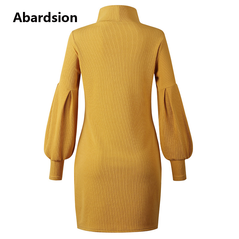 Image 5 - Abardsion Women Sweater Dress Autumn Winter Clothes 2019 Female Casual Loose Pink Puff Long Sleeve Turtleneck Knitted Dresses-in Dresses from Women's Clothing