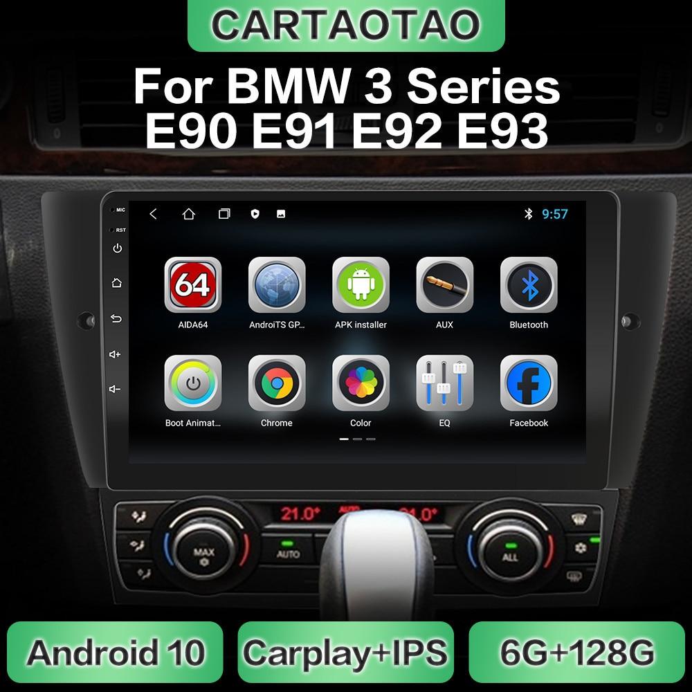 Android 10 rádio do carro navegação gps wifi carplay reprodutor multimídia para bmw série 3 e90 e91 e92 e93 dsp rds ips nenhum dvd 2din