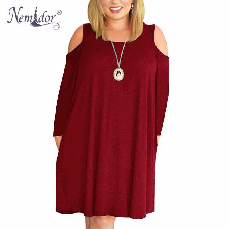 Nemidor Women's Cold Shoulder Plus Size Casual T-Shirt Swing Dress with Pockets (1)