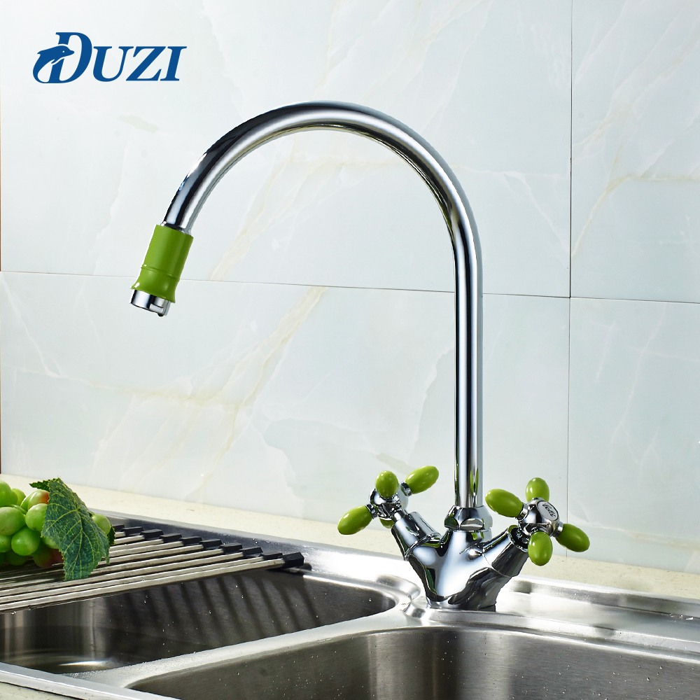 Kitchen Sink Water Faucet Cold And Hot Water For 360 Degree Rotation Double Lever Sink Mixer Basin Sink Mixer Tap Kitchen Mixer