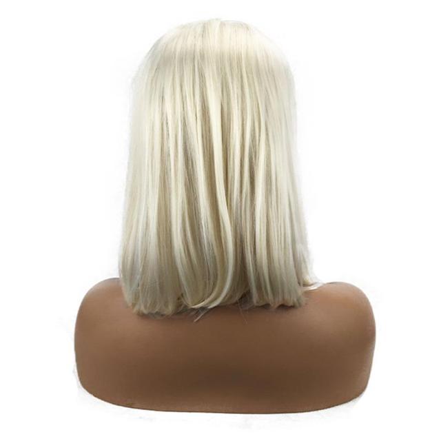 Peluca frontal de encaje Rubio de 12 pulgadas peluca brasileña corta recta de encaje frente humano pelucas para mujeres negras peluca frontal de encaje transparente