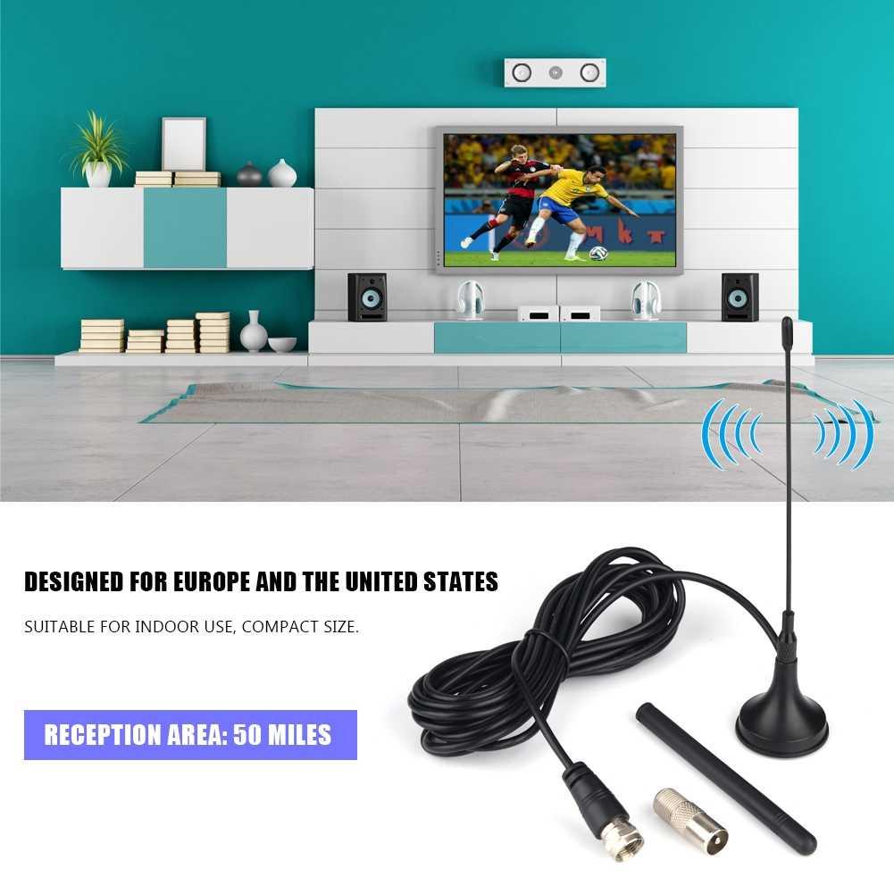 Antena dupla vertical interna da antena hd da tevê da escala de 50 milhas antenas digitais da recepção para atsc dvb-t DVB-2 isdb eua da ue