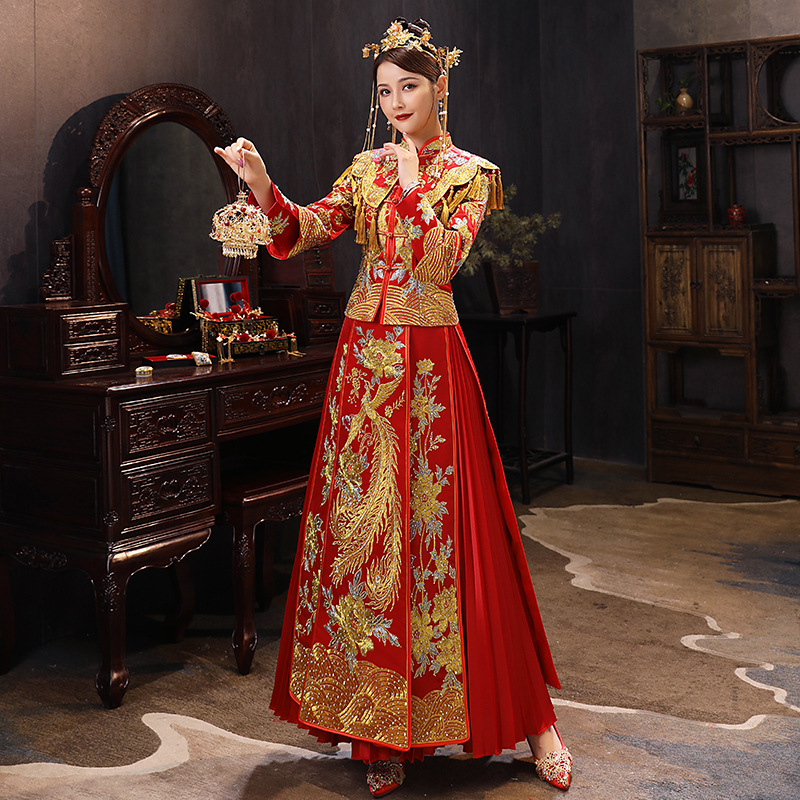 Plus Size 6XL 2020 Modern Cheongsam Red Qipao Long Traditional Chinese Wedding Dress Oriental Style Dresses China Clothing Store