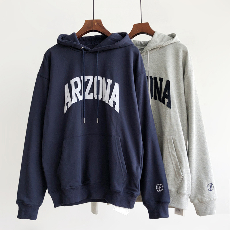 Women's Letters Patch Sweatshirt Loose Leisure Sports Autumn Students Cotton Pullover Hoodie Female