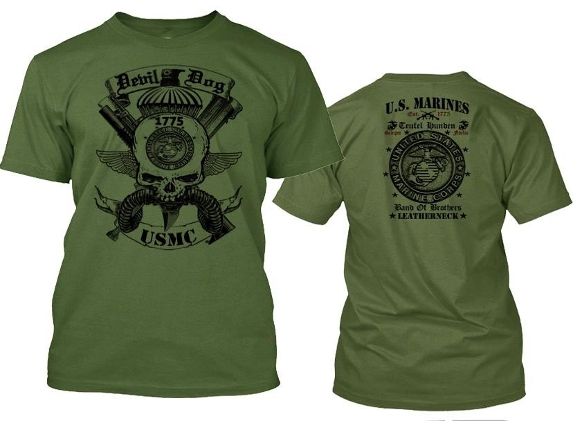 2019 Summer Fashion Hot <font><b>Usmc</b></font> <font><b>T</b></font> <font><b>Shirt</b></font> Us Marines Semper Fidelis Leatherneck Combat Arms Cotton Tee Tee <font><b>Shirt</b></font> 035661 image