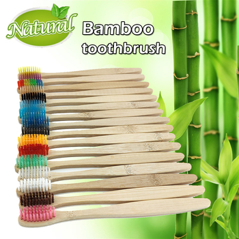 12pcs New mixed color  bamboo toothbrush eco friendly products wooden Tooth Brush Soft bristle Tip Charcoal adults oral care