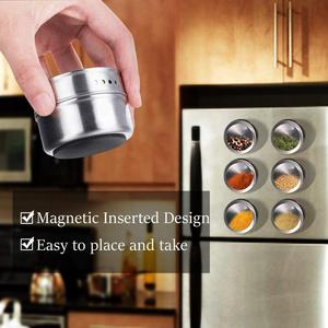 Image 5 - LMETJMA Magnetic Spice Jar Set With Stickers Stainless Steel Spice Tins Spice Storage Container Pepper Seasoning Sprays Tools